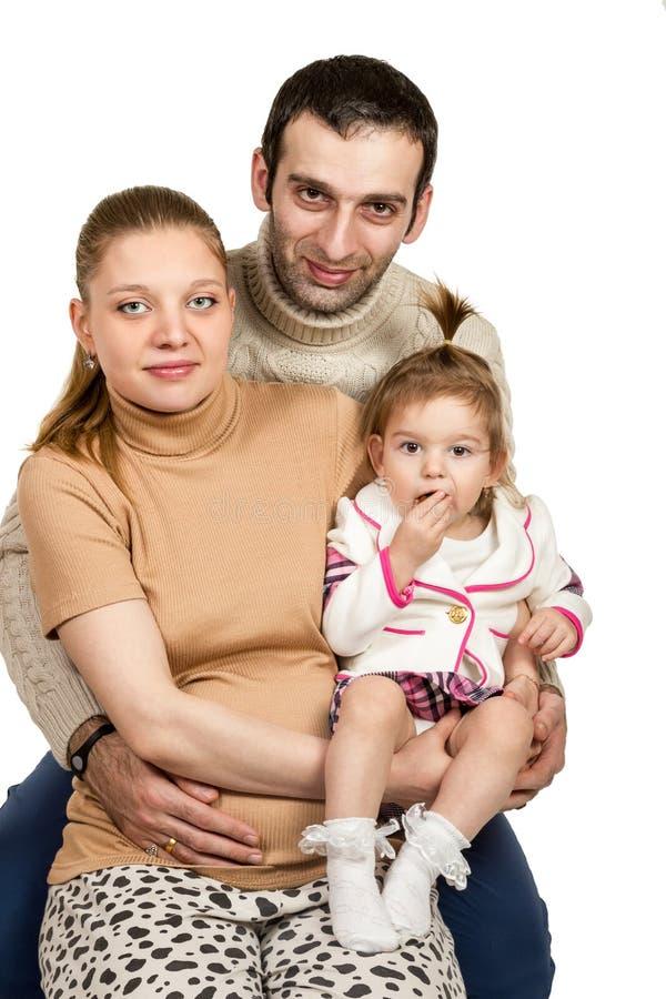 Familieportret van moedervader en dochter stock afbeeldingen