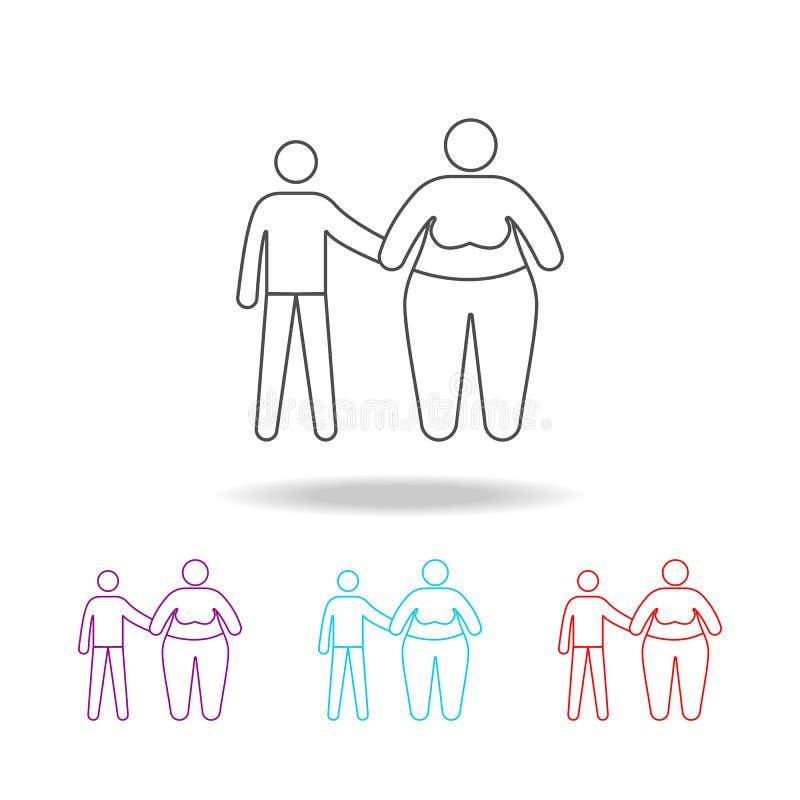 familieprobleem met zwaarlijvigheidspictogrammen Elementen van snel voedsel in multi gekleurde pictogrammen Grafisch het ontwerpp stock illustratie
