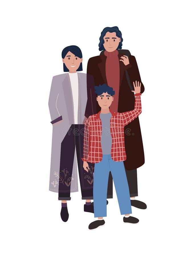 Familiereeks Ouders en zoon stock illustratie