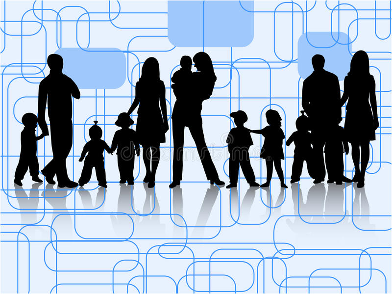 Families. Family and abstract , blue vector illustration