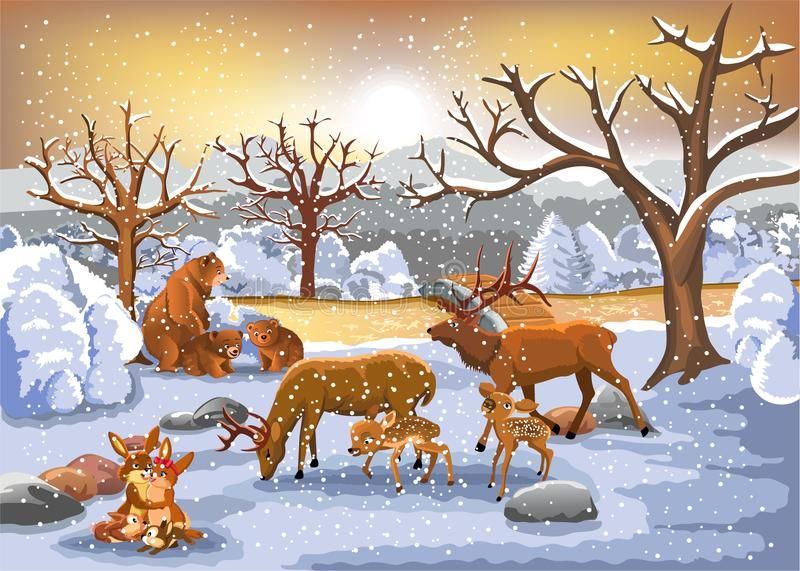 Families of animals enjoying winter time vector illustration
