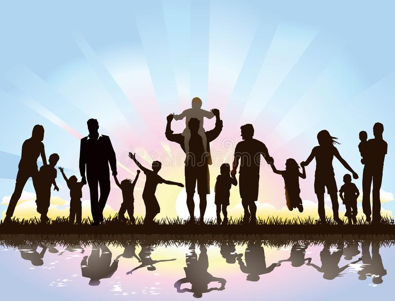 Families awaiting the sunrise. Illustration of families, parents and children, seen in silhouette standing (and some jumping) beside a canal or river waiting for royalty free illustration