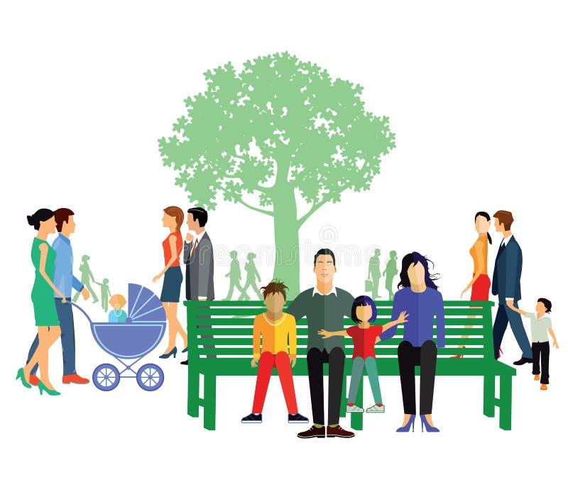 Families bij vrije tijd royalty-vrije illustratie