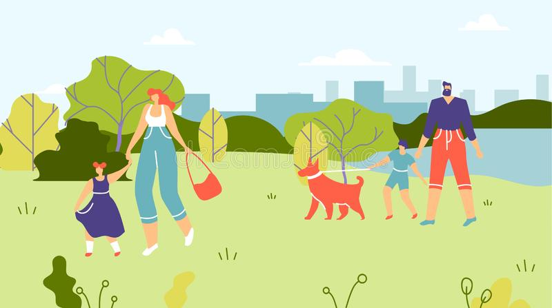 Families with Children and Dogs Walking in Park vector illustration