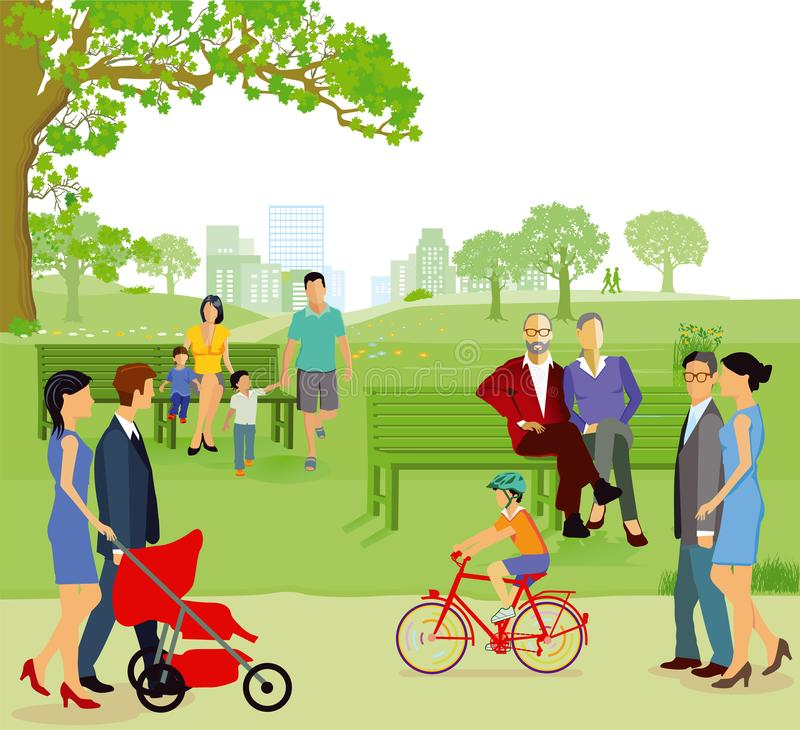Families in city park vector illustration
