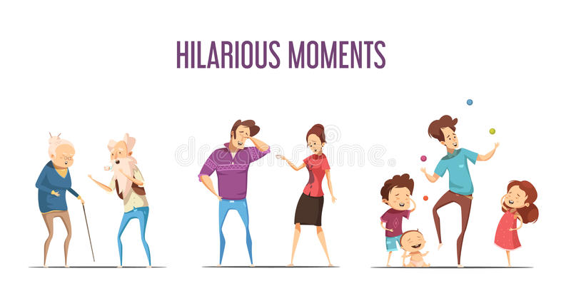 Families Couples Hilarious Moments Cartoon Set. Hilarious funny life moments 3 retro cartoon icons set with couples and young family isolated vector illustration vector illustration