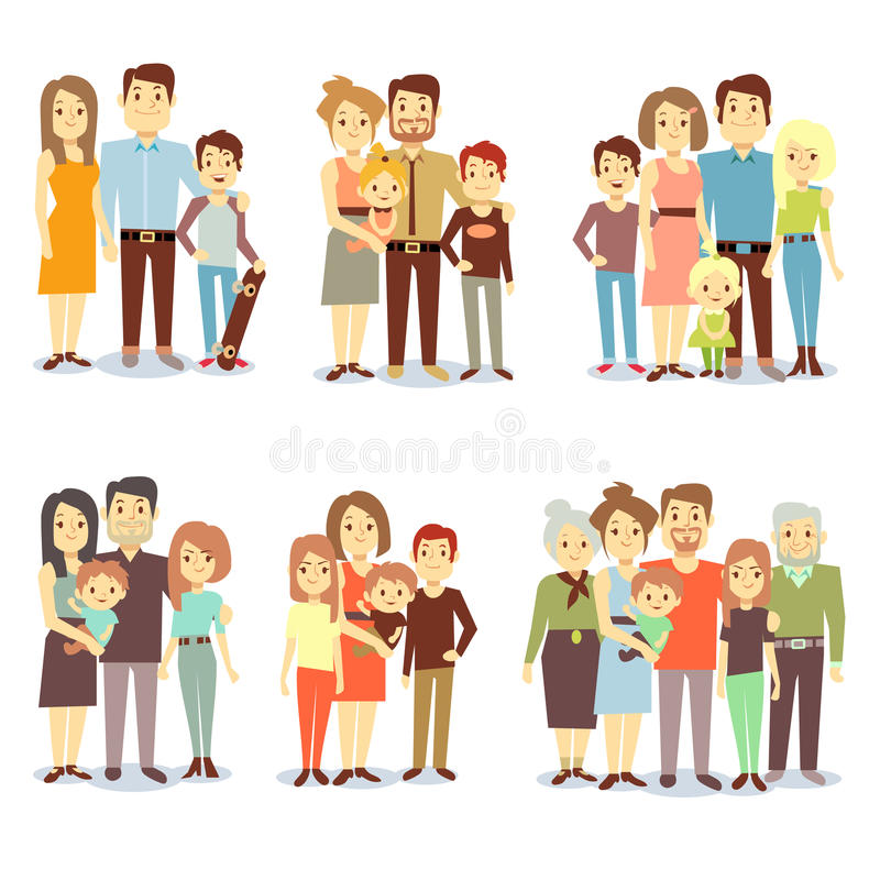 Families different types flat vector icons set royalty free illustration