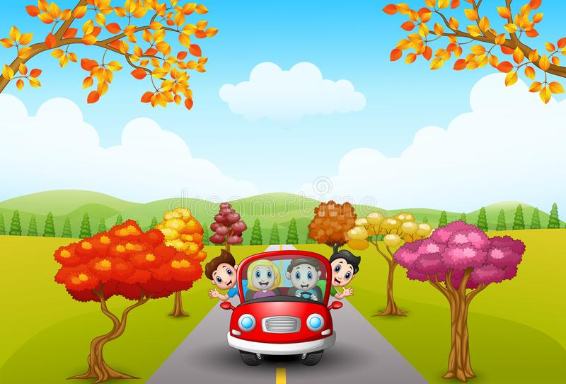 Families drive in autumn vector illustration