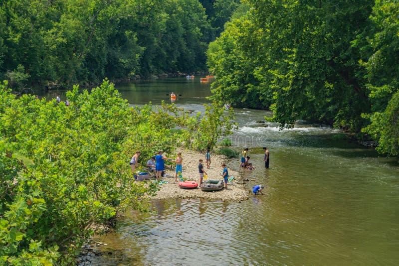 Families Enjoying the Roanoke River, stock photography
