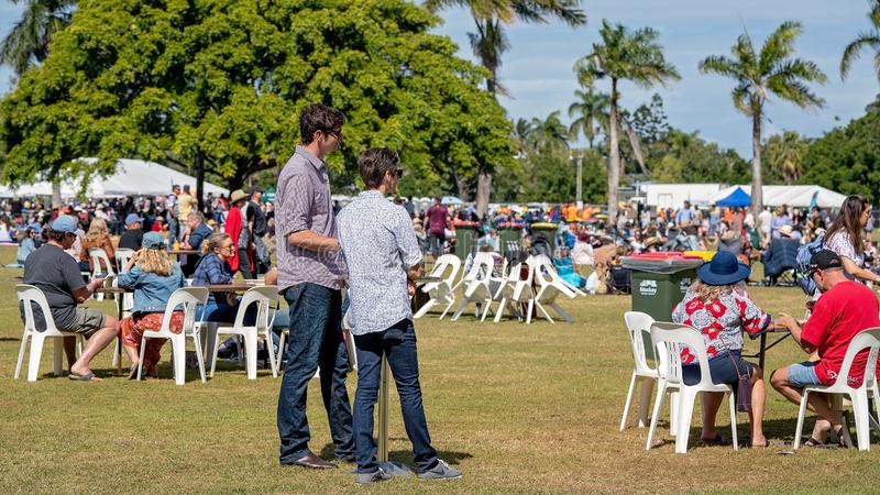 Families And Friends Enjoying Food And Wine Festival stock images