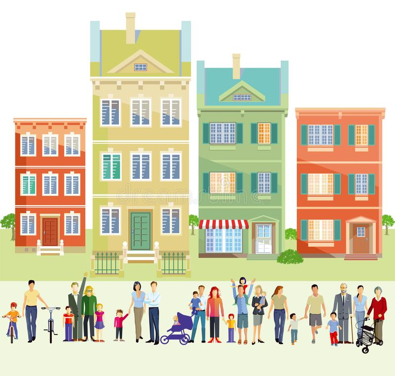 Families in front of houses royalty free illustration