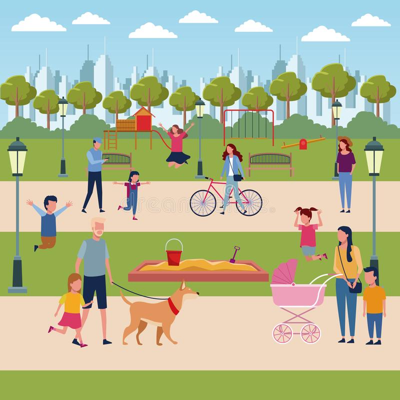 Families in park stock illustration