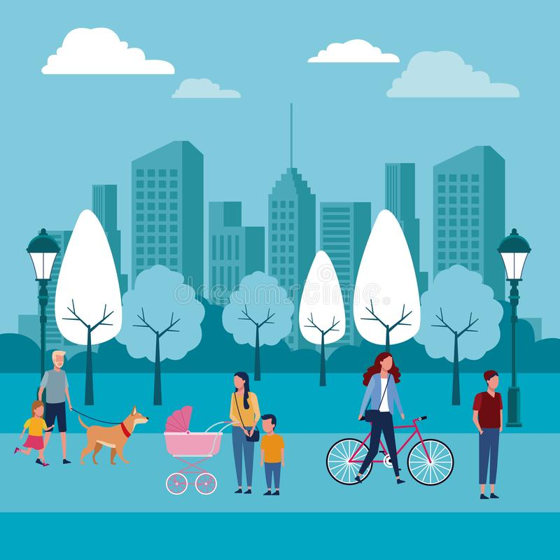 Families at park stock illustration