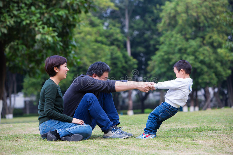 Families play on the grassland royalty free stock images