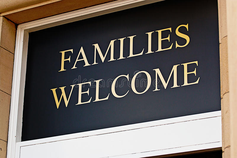 Families welkom teken stock foto