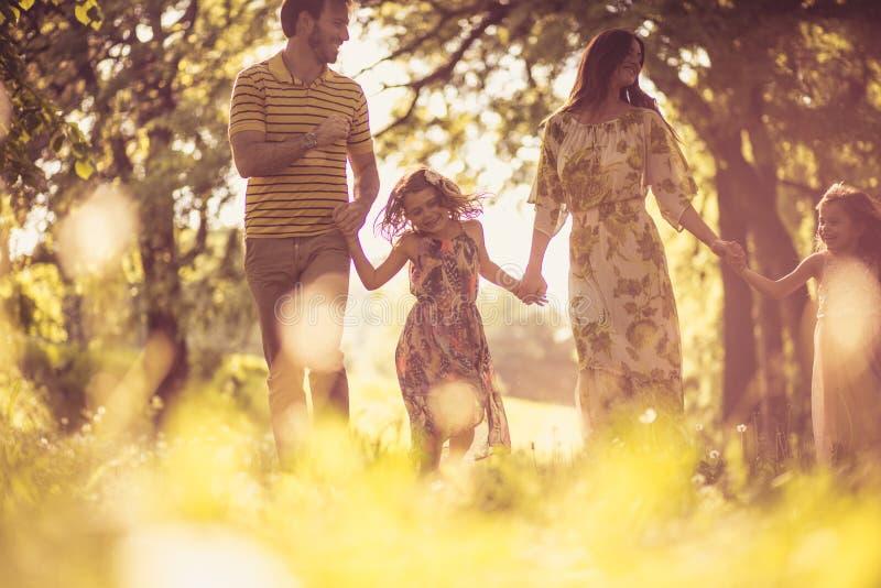 Familietijd De gelukkige aard van de familie waling trog royalty-vrije stock afbeelding