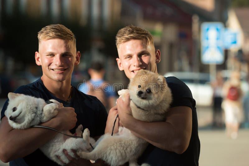 Familietijd plakkend De tweelingenmensen houden rashonden Spitz de honden houden van het bedrijf van hun familie Gelukkige famili royalty-vrije stock foto's