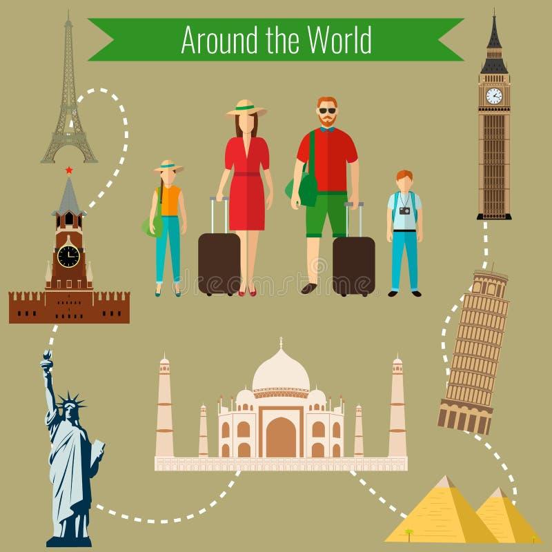 Familievakantie Landen van het het ontwerpmalplaatje van het wereldembleem Reis, Toerisme, Oriëntatiepuntpictogram Vector vector illustratie