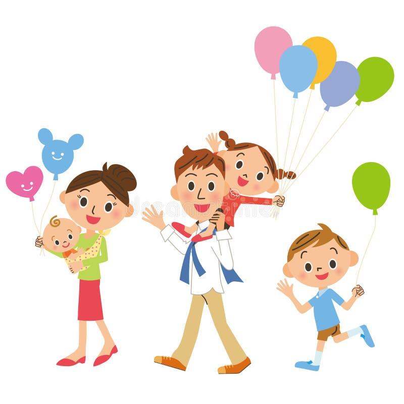 Familievergadering die, ballon hebben royalty-vrije illustratie