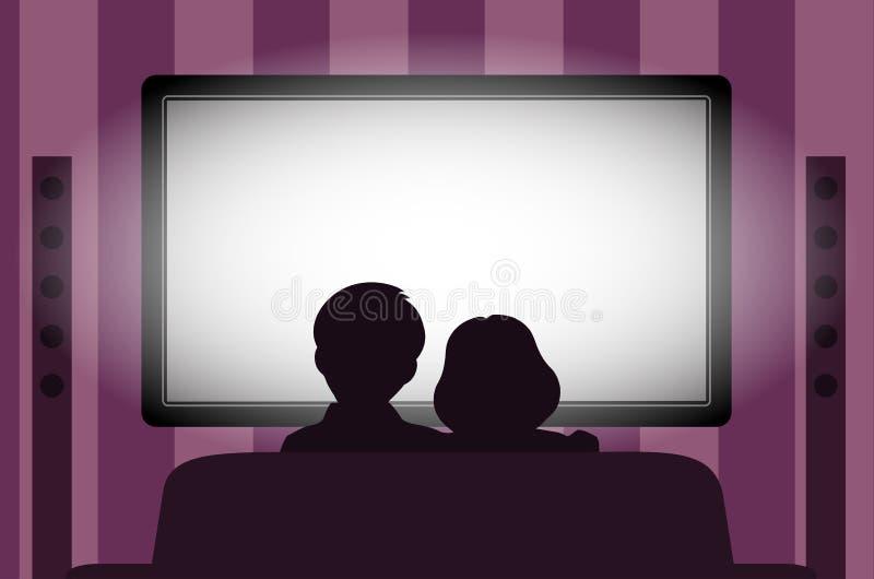 Familievrije tijd, mensen achter het bekijken van TV bij nacht stock illustratie