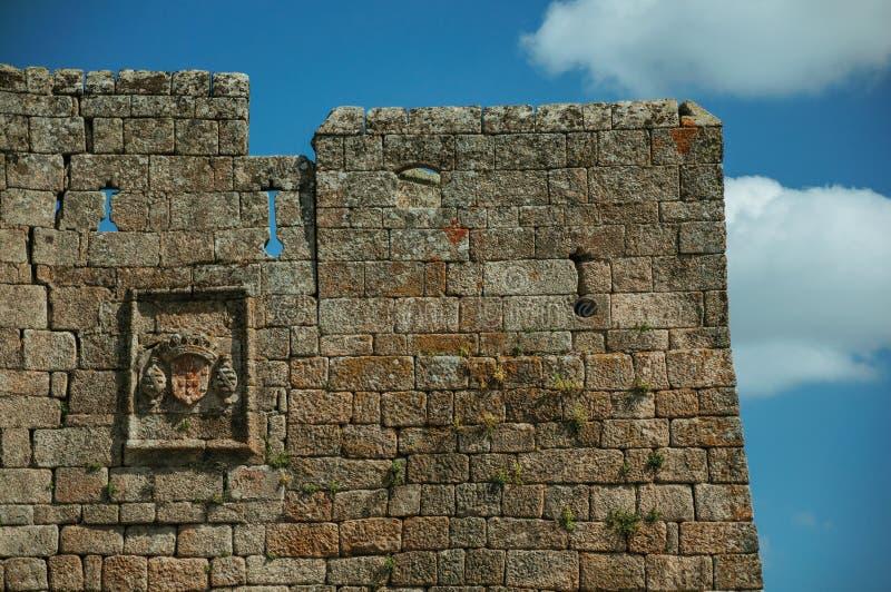 Familiewapenschild op een muur wordt van steen wordt gemaakt gesneden die stock foto