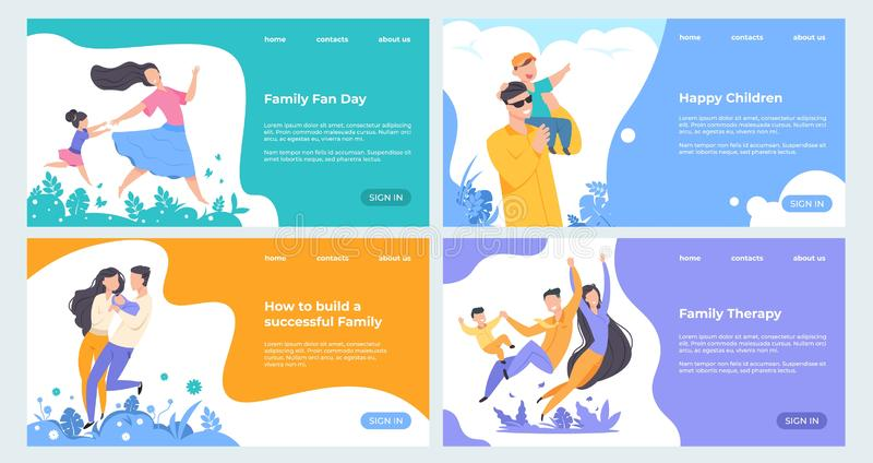 Familiewebsite Het vlakke verzekering malplaatje van de planningswebpagina, gelukkige beeldverhaalkarakters met kinderen op landi vector illustratie