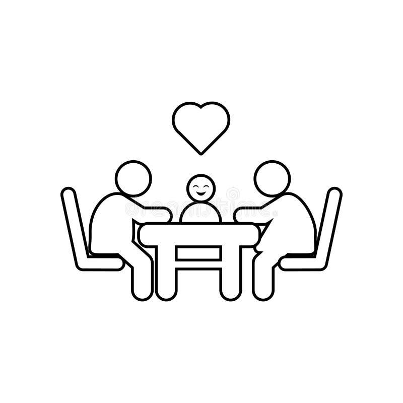 familiezitting bij een lijst met liefde en hartenpictogram Element van Familie voor mobiel concept en webtoepassingenpictogram Ov stock illustratie