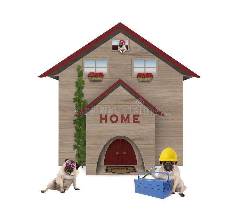 familiy逗人喜爱的平均工人阶级哈巴狗的狗,开会下来在他们的被更新的家前面 向量例证