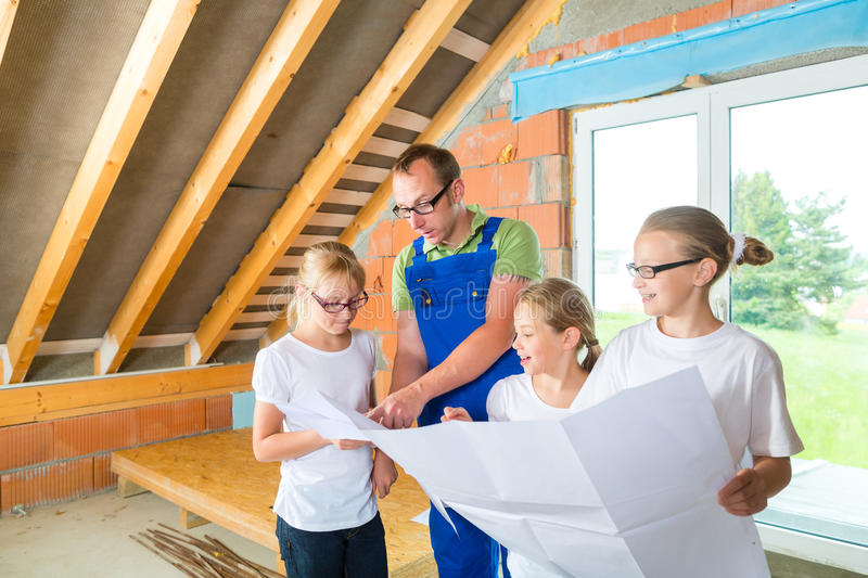 Familiy viewing home contruction site royalty free stock images