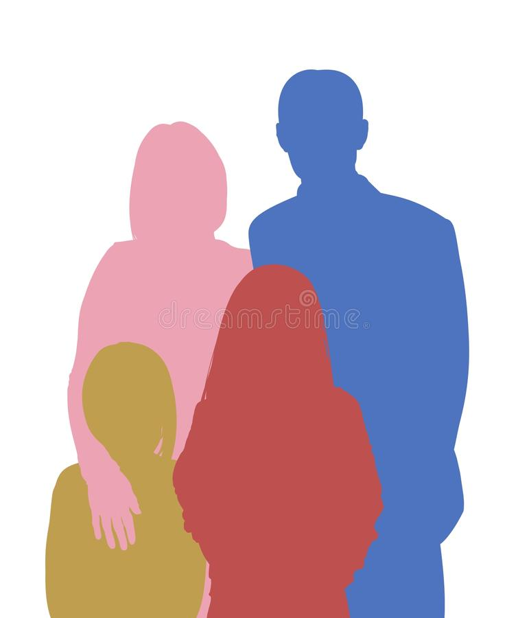 familj 4 royaltyfri illustrationer