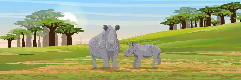 Familj av afrikanska noshörningar Moder och hennes gröngöling stock illustrationer