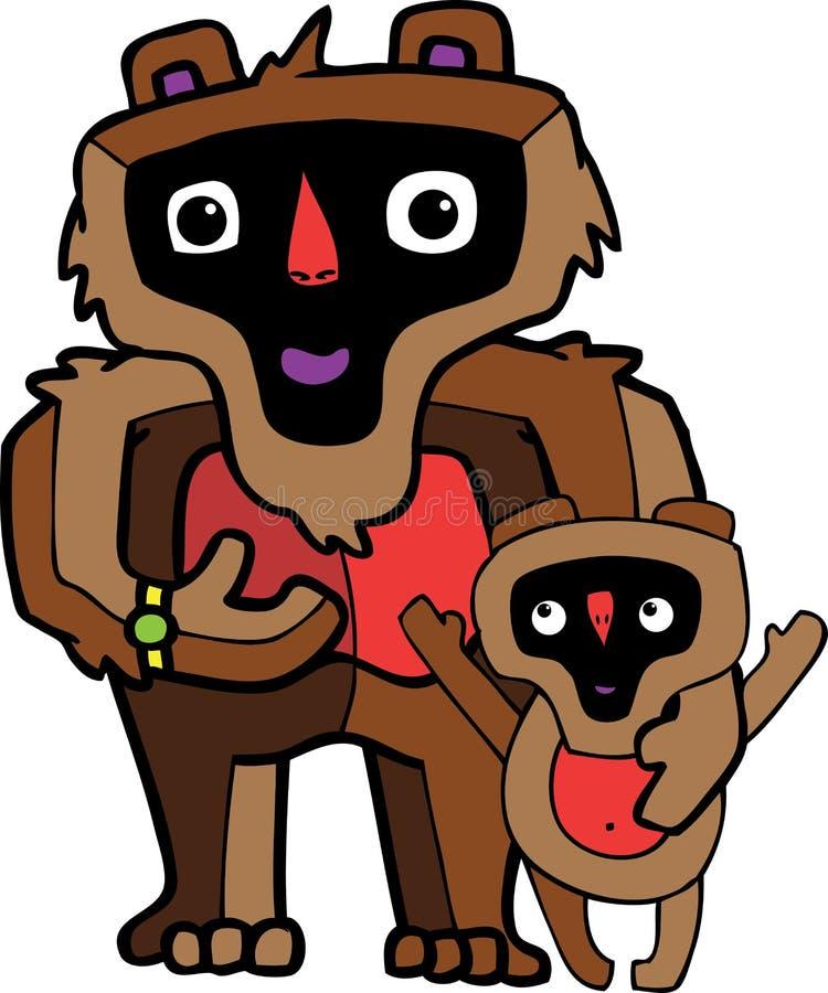 Familj av apa-fadern och sonen arkivfoton