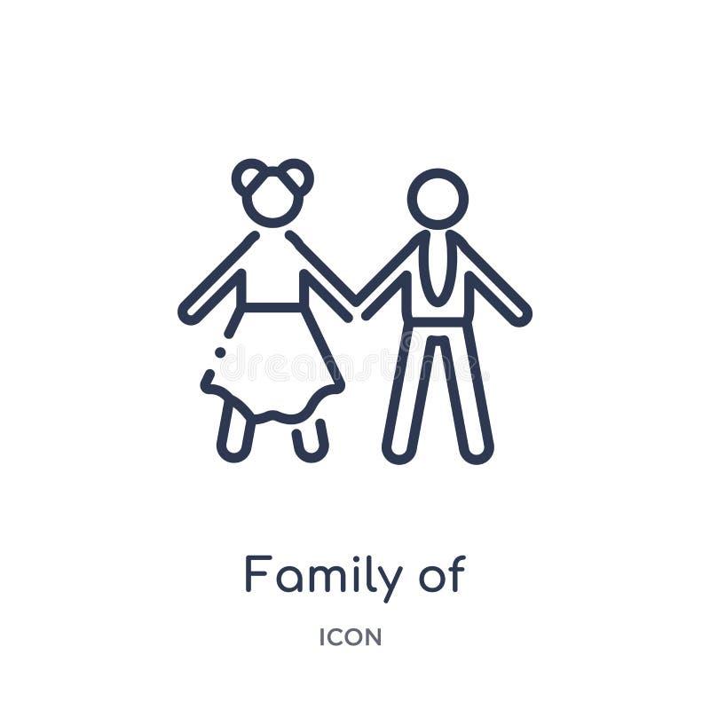 familj av den heterosexuella parsymbolen från folköversiktssamling Tunn linje familj av den heterosexuella parsymbolen som isoler stock illustrationer