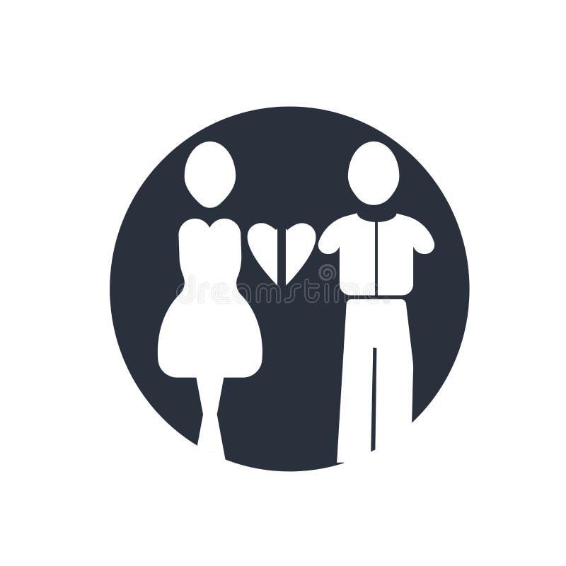 Familj av det heterosexuella tecknet och symbolet för parsymbolsvektor som isoleras på vit bakgrund, familj av det heterosexuella stock illustrationer