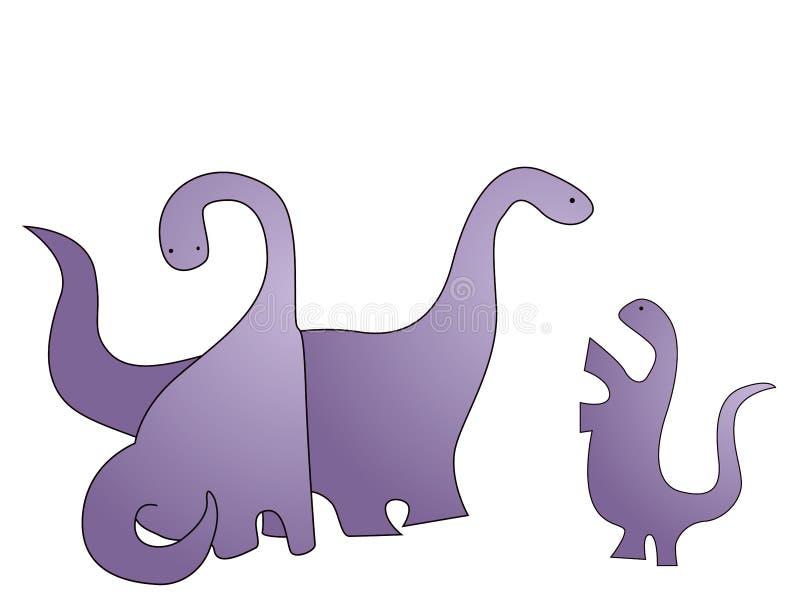 Familj av dinosauren vektor illustrationer