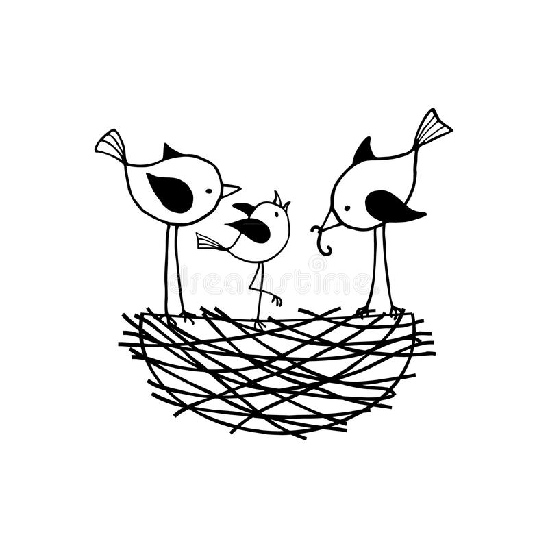 Familj av fåglar i redet royaltyfri illustrationer