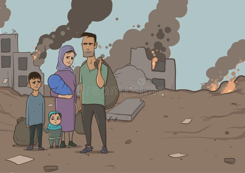 Familj av flyktingar med två barn på förstörd byggnadsbakgrund stock illustrationer