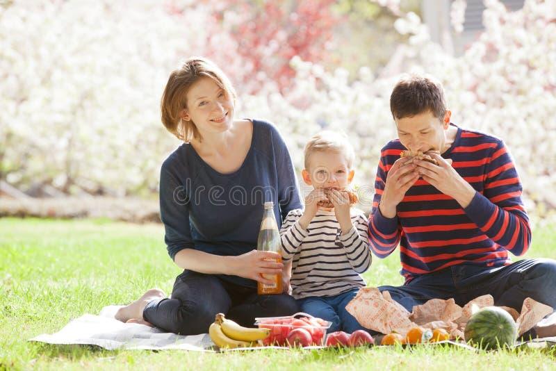 Familj av fyra i höstskogen arkivfoton