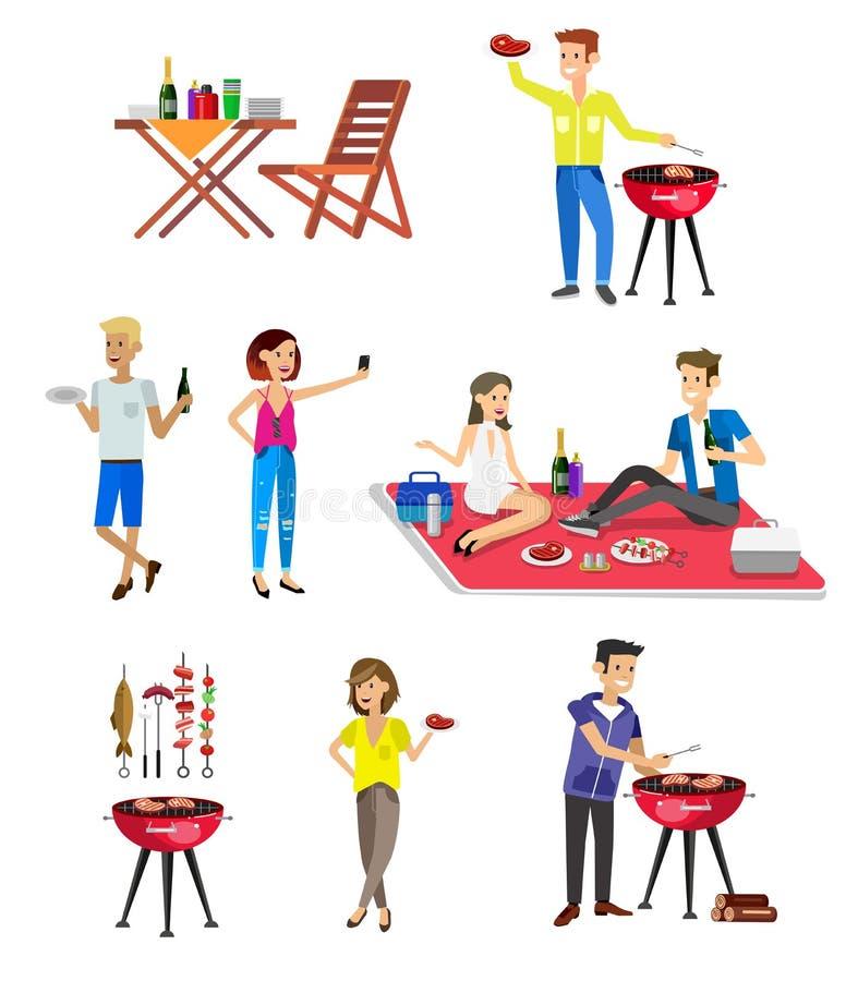 Familj av fyra i höstskogen Bbq-parti Mat och grillfest stock illustrationer