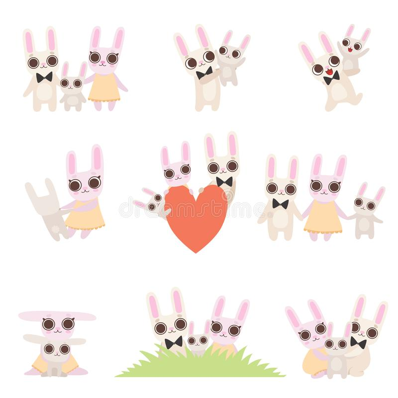 Familj av kaniner uppsättning, fader, moder och att behandla som ett barn kaniner som tillsammans spenderar Tid, gullig vektor fö vektor illustrationer