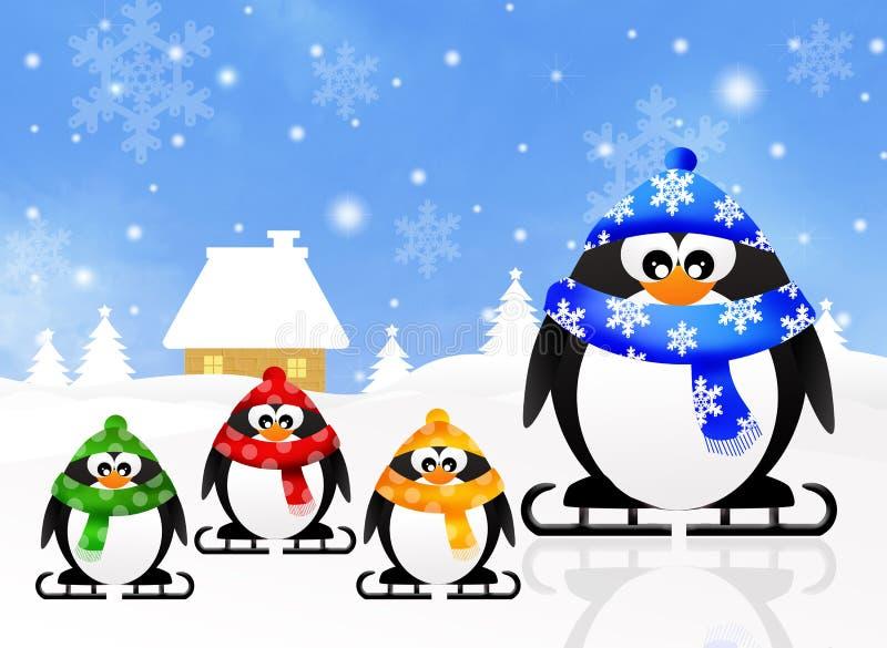 Familj av pingvin royaltyfri illustrationer