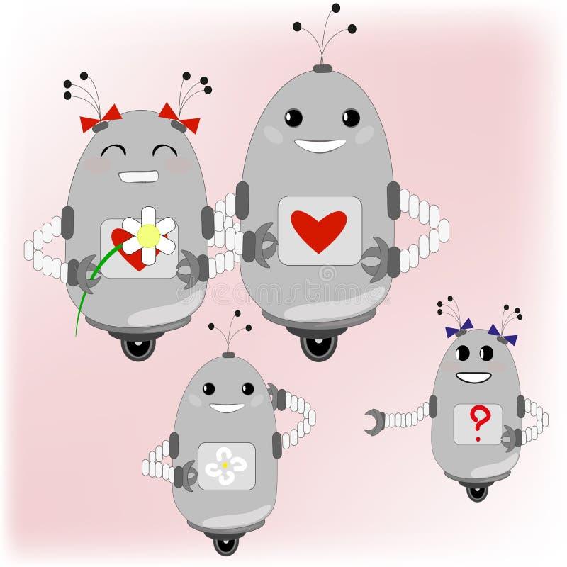 Familj av robotar - föräldrar och deras barn stock illustrationer