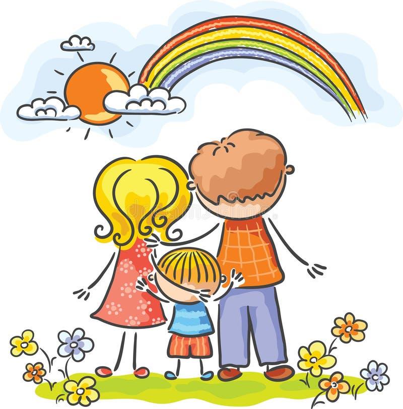 Familj bakifrån som ser regnbågen vektor illustrationer
