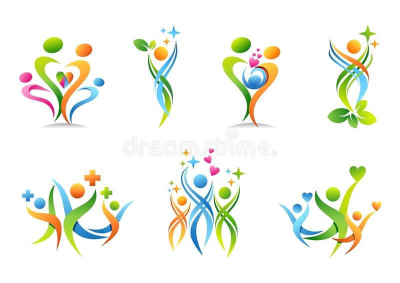 Familj förälder, hälsa, utbildning, logo, barnuppfostran, folk, sjukvårduppsättning av designen för symbolsymbolsvektor