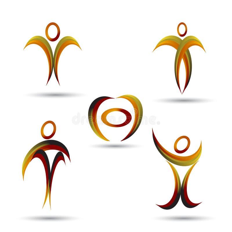 Familj förälder, hälsa, utbildning, logo, barnuppfostran, folk, sportuppsättning av designen för symbolsymbolsvektor stock illustrationer