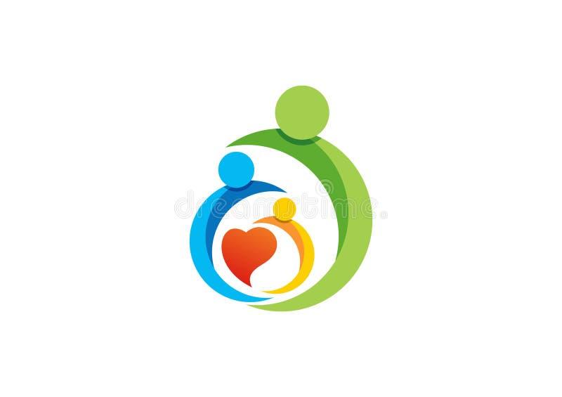 Familj förälder, unge, hjärta, logo, barnuppfostran, omsorg, cirkel, hälsa, utbildning, vektor för symbolsymbolsdesign stock illustrationer