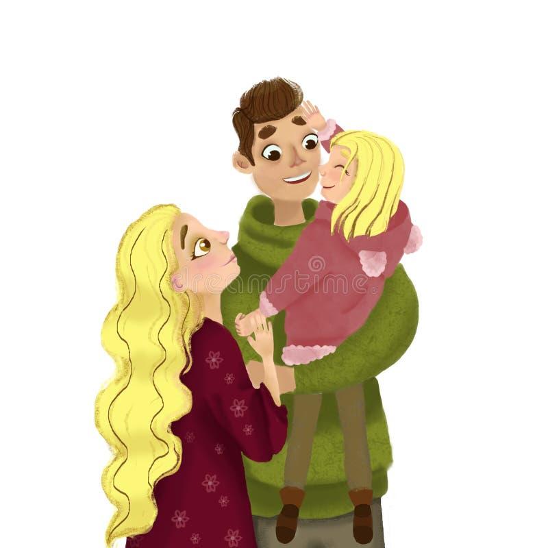 Familj förälskelse, glädje, barn, mamma, farsa, lycka, folk, illustration vektor illustrationer