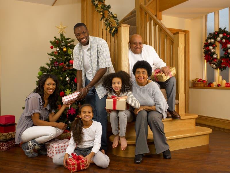 Familj för blandad race runt om jultree arkivbilder
