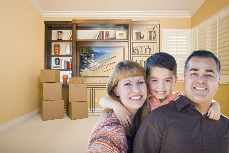 Familj för blandat lopp i rum med teckningen av underhållningenheten arkivbild