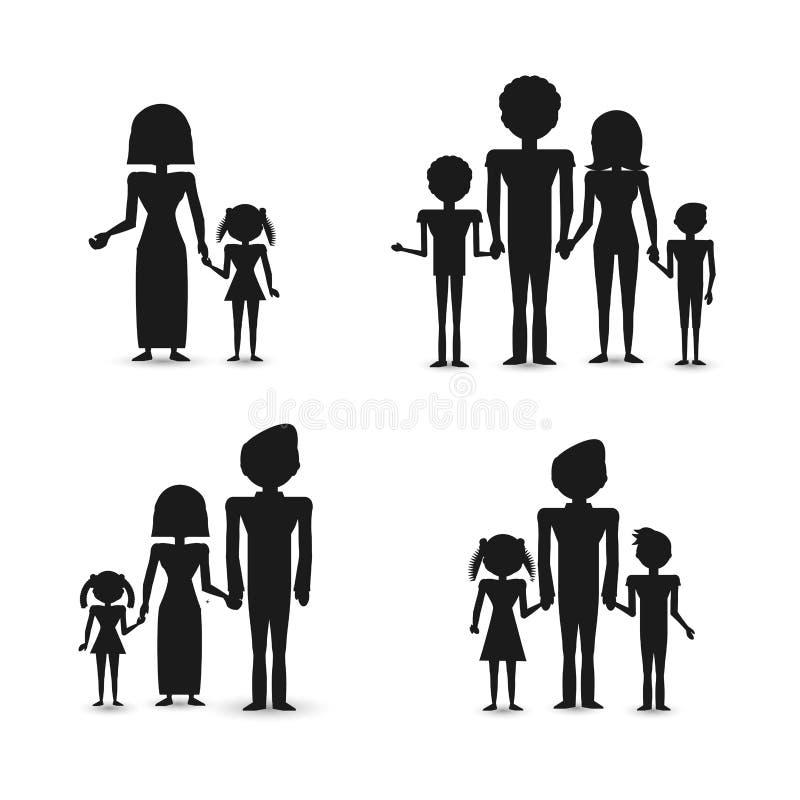 Familj för konturgruppfolk stock illustrationer